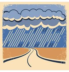 Rain Vintage poster vector image vector image
