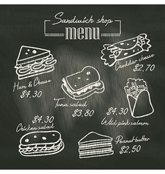 Sandwich doodle menu drawing on chalk board vector image vector image
