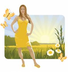 summer landscape and girl vector image