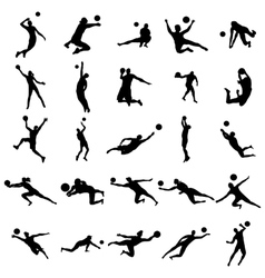 Volleyball Silhouette set vector image