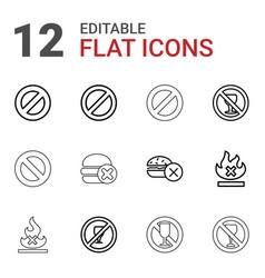 12 ban icons vector image