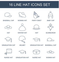 16 hat icons vector