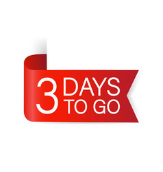 3 days to go red label red web ribbon isolated vector