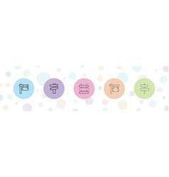 5 signpost icons vector