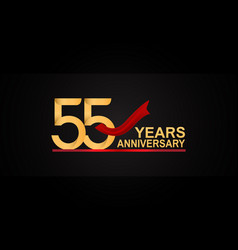 55 years anniversary design with red ribbon vector