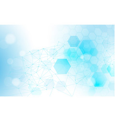 Abstract connections lines and hexagons background vector