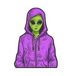 Alien in hoodie line art sketch vector