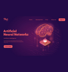 artificial neural networks landing web page vector image
