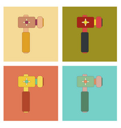 Assembly flat icons kids toy hammer vector
