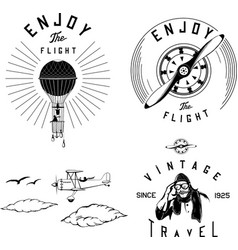 aviation logo set black airplane biplane vintage vector image