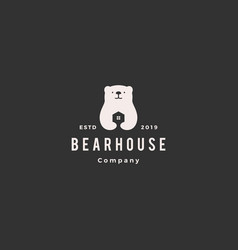 bear house home logo hipster retro vintage icon vector image