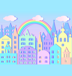 Big city rainbow and clouds vector