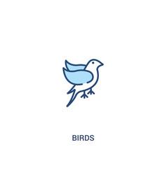 Birds concept 2 colored icon simple line element vector