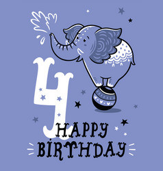 birthday card for 4 year old baby vector image