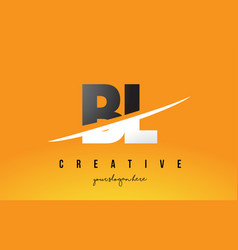 Bl b l letter modern logo design with yellow vector