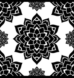 black flower pattern vector image
