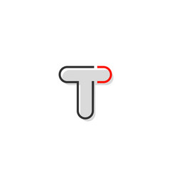 Black red grey letter t alphabet logo design icon vector