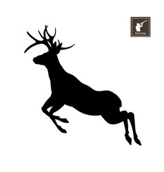 black silhouette of deer on white background vector image