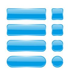 blue glass buttons menu interface elements set vector image