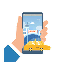 booking taxi car with mobile app flat vector image