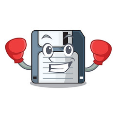 Boxing cartoon shape in the floppy disk vector
