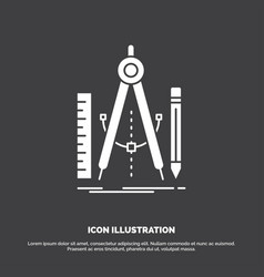 build design geometry math tool icon glyph symbol vector image