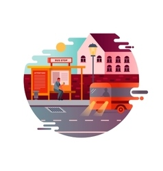 Bus stop design flat vector