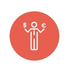 Businessman holding Euro and US dollar thin line vector image