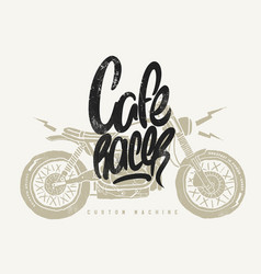 cafe racer vintage motorcycle hand drawn t-shirt vector image