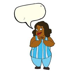 cartoon happy cook with speech bubble vector image