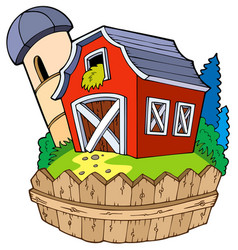 Cartoon red barn with fence vector