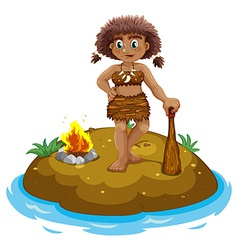 Caveman on island vector