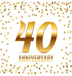 celebrating 40 anniversary emblem template design vector image