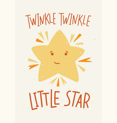 Childish poster template with twinkle twinkle vector