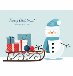 Christmas snowman and sleigh vector