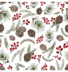 Christmas tree branches seamless patternCone vector image