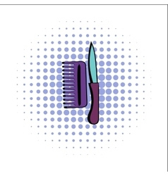Comb and razor comics icon vector image