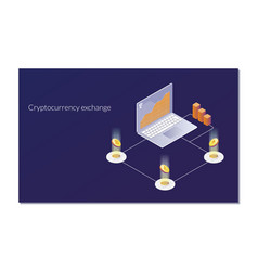 Cryptocurrency exchange and blockchain isometric vector