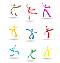 Dancing peoples pictograms vector image