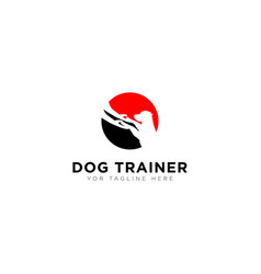 Dog trainer logo with standing dog modern animal vector