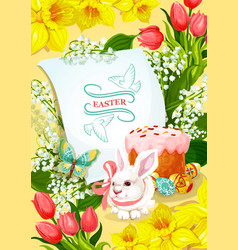 easter and egg hunt poster with rabbit egg cake vector image