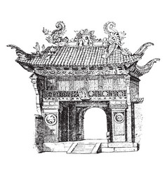 Entrance-gate to the temple of confucius at vector