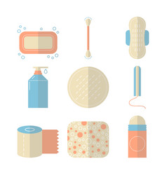 Feminine hygiene set of flat objects or vector
