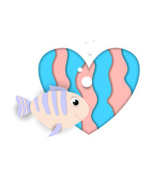 Fish flow at paper cut heart on white background vector