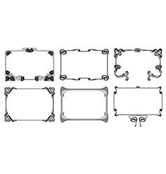 frames with style art nouveau ornament set vector image