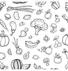 Fruit and vegetable vegan food doodle sketch vector