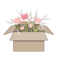gift cardboard box with beautiful spring doodle vector image