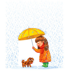 Girl under an umbrella with puppy vector