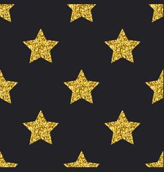 Gold glitter stars seamless pattern black vector