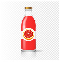 Grapefruit juice bottle glass with juice label vector